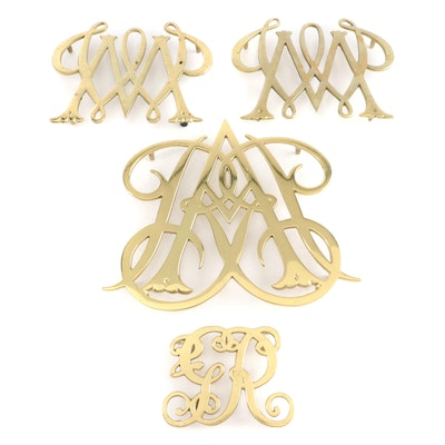 """Virginia Metalcrafters """"Queen Anne Cypher"""" Brass Trivet and Other Cypher Trivets"""