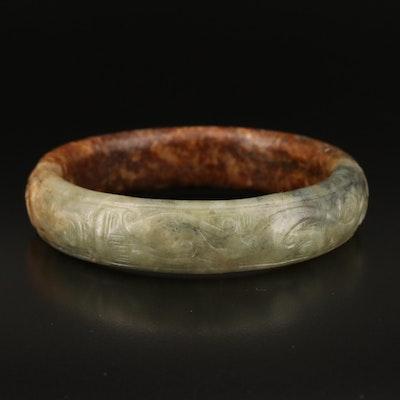 Carved Serpentine Hololith Bangle with Bone Handled Presentation Box