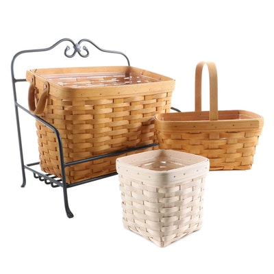 Longaberger Handwoven Magazine Basket in Iron Stand and Other Baskets