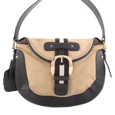 Bally Leather and Suede Stripe Shoulder Bag