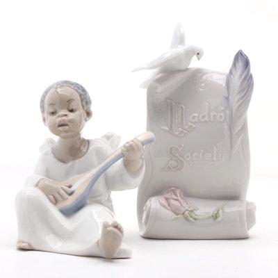"Lladró ""Angel with Mandolin"" Porcelain Figurine with Lladró Society Plaque"