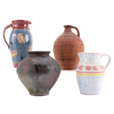 Signed Art Pottery Vase with Primitive Terracotta Wine Jug and More