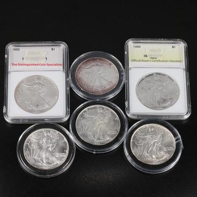 Six $1 American Silver Eagle Bullion Coins
