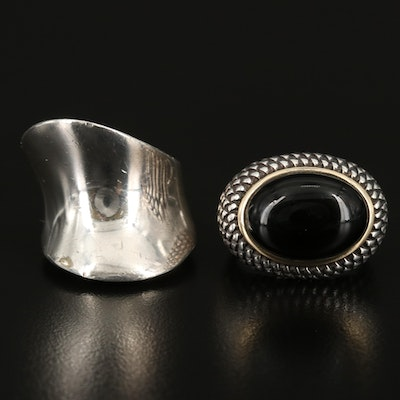 Sterling Black Onyx East-West Ring with 14K Accents and Sterling Saddle Ring