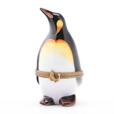 Parry Vieille Hand-Painted Porcelain Penguin Limoges Box