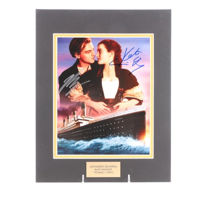 "Leonardo DiCaprio and Kate Winslet Signed ""Titanic"" (1997) Movie Photo Print"