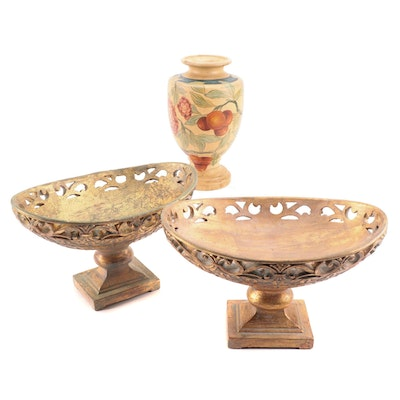Gilt Composite Compotes with Hand-Painted Ceramic Vase