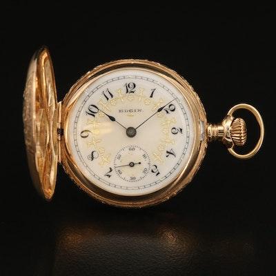 14K Multi Colored Elgin 1904 Hunting Case Pocket Watch