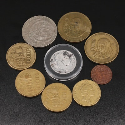 Foreign Coinage, Including 1817 Great Britain Shilling Silver Coin