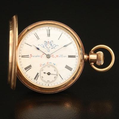 1882 Waltham 14K Size 8 Pocket Watch