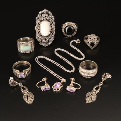 Sterling Grouping Including Black Onyx, Rhinestone and Cubic Zirconia