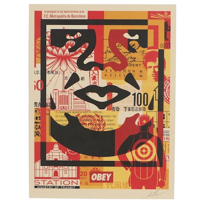 """Shepherd Fairey Offset Print """"Obey 3 Face Collage"""""""