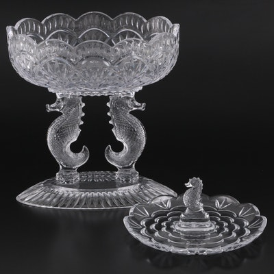"""Tom Brennan for Waterford Crystal """"Seahorse"""" Footed Bowl with Serving Tray"""