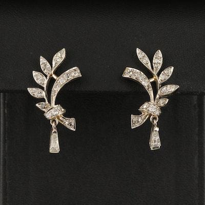Vintage 14K 1.08 CTW Diamond Foliate Earrings