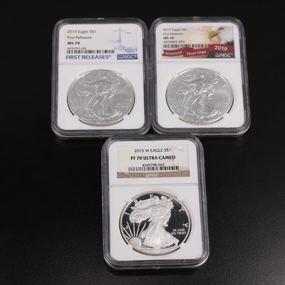 Three NGC Graded $1 American Silver Eagles