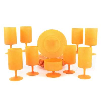 Mid Century Modern Frosted Orange Glass Dinnerware