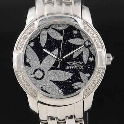 Invicta Diamond Bezel Stainless Steel Wristwatch