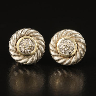 David Yurman Sterling Diamond Cluster Earrings with 18K Accent