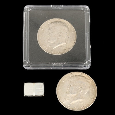 Two Kennedy Silver-Clad Half Dollars and Two Valcambi 1 Gram Silver Bars