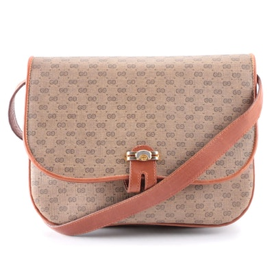 Gucci Accordion-Style Front Flap Shoulder Bag in Micro GG Coated Canvas