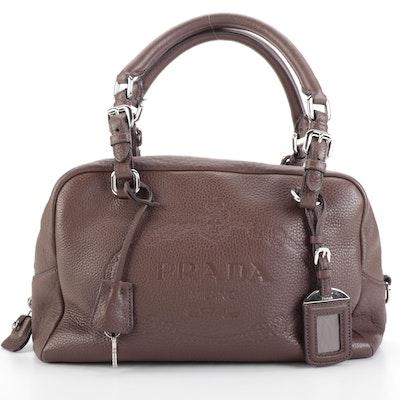 Prada Brown Vitello Daino Leather Bauletto Bag