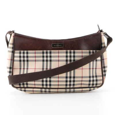 "Burberry Shoulder Bag in ""Nova Check"" Nylon Twill and Dark Brown Leather"