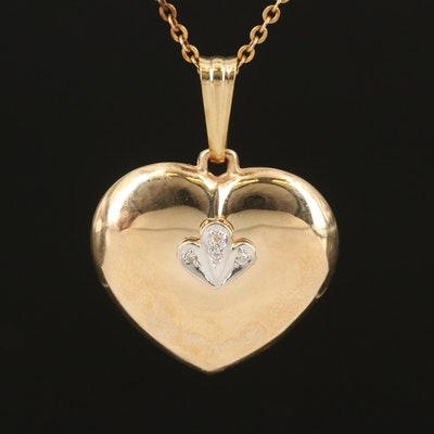 14K Diamond Puffed Heart Pendant on Gold-Filled Cable Chain Necklace