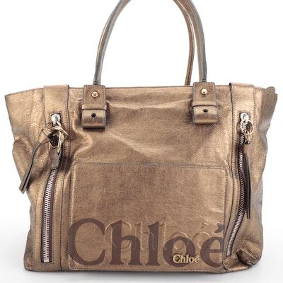 Chloé Metallic Leather Zip Tote