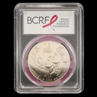 PCGS MS69 2018-P $1 Breast Cancer Awareness First Strike Commemorative Coin