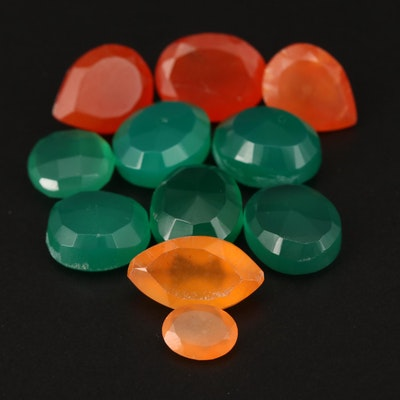 Loose Mixed Faceted Chalcedony and Carnelian