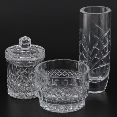 Cut Crystal Flower Vase, Biscuit Jar, and Bowl