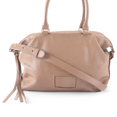 See by Chloé Taupe Pebble Grain Leather Shoulder Tote Bag with Detachable Strap