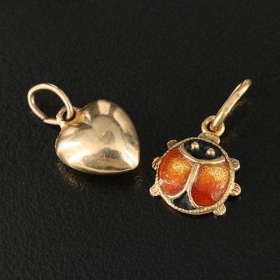 14K Puffed Heart and 18K Enamel Ladybug Pendants