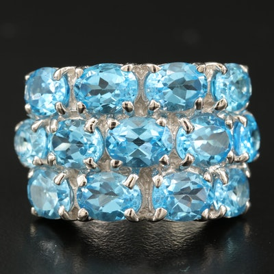 Sterling Silver Swiss Blue Topaz Multi Row Ring