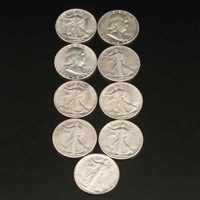 Nine U.S. Silver Half Dollars