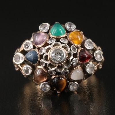 Vintage Thai Princess Ring Including Tiger's Eye, Garnet and Spinel