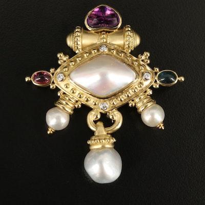 Renaissance Revival 18K Pearl, Amethyst, Tourmaline and Diamond Brooch