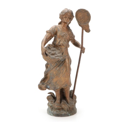 """French Patinated Cast Spelter Sculpture after Moreau """"Pèchuese"""""""