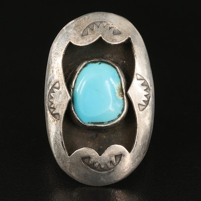 Southwestern Style Sterling Turquoise Shadow Box Ring