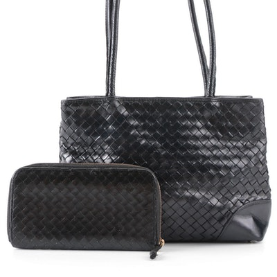 Bottega Veneta Shoulder Bag and Zip-Around Wallet in Black Intrecciato Leather