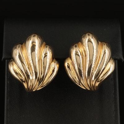 14K Fluted Button Earrings