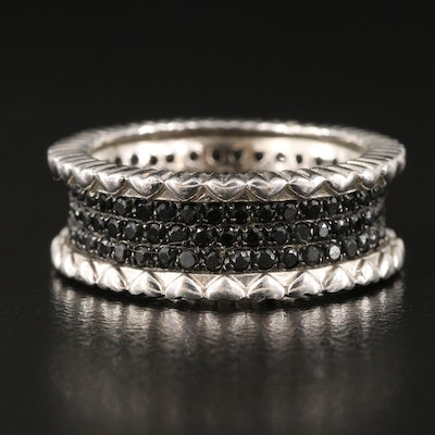 Sterling Silver Multi-Row Black Onyx Eternity Band with Heart Accents