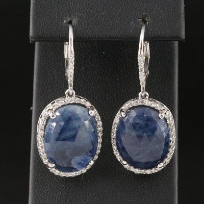 14K Sapphire and Diamond Halo Drop Earrings