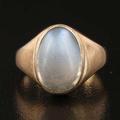 Vintage 14K Bezel Set Polished Glass Ring