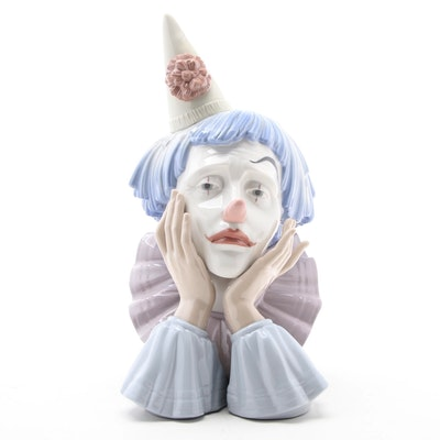 """Lladró """"Clown's Head"""" Porcelain Figurine Designed by José Puche"""