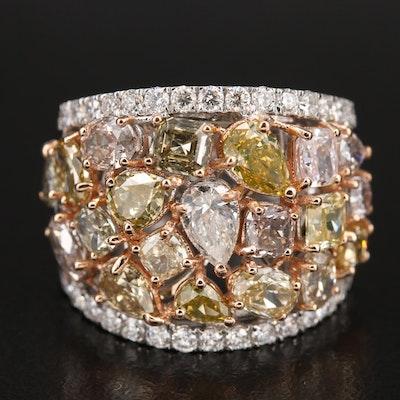 18K 5.33 CTW Diamond Openwork Ring with GIA Report
