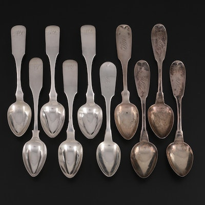 American Coin Silver Fiddle Handle Teaspoons, 19th Century