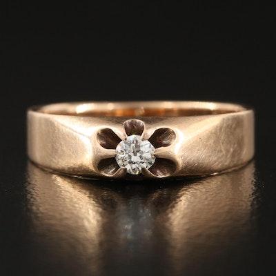 Victorian Belcher Set 14K 0.11CT Diamond Ring