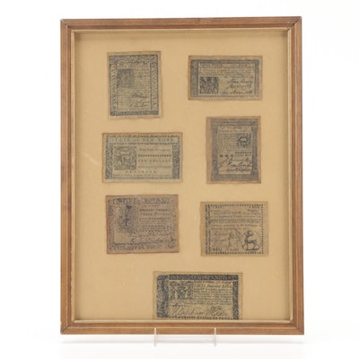 Reproduction Colonial Currency Display