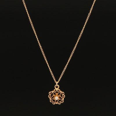 14K 0.02 CT Diamond Scrollwork Pendant Necklace
